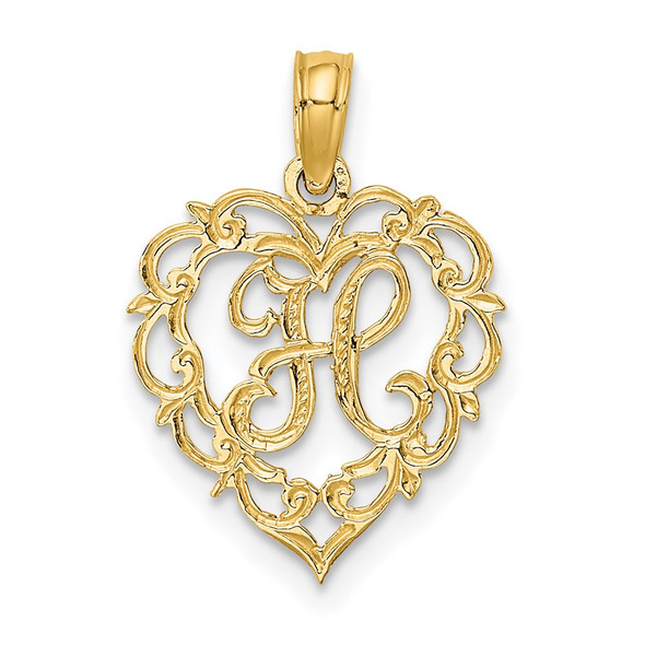 14k Yellow Gold H Script Initial In Heart Pendant