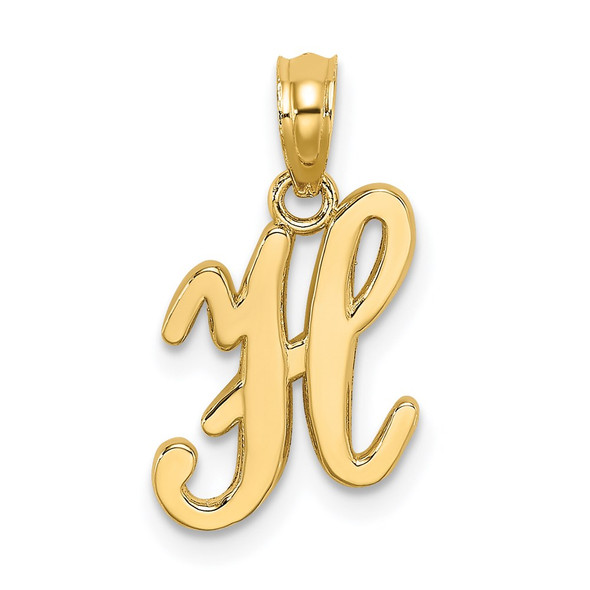 14k Yellow Gold Polished H Script Initial Pendant