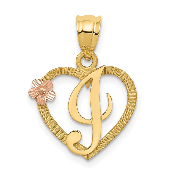 14k Yellow and Rose Gold Initial I In Heart Pendant
