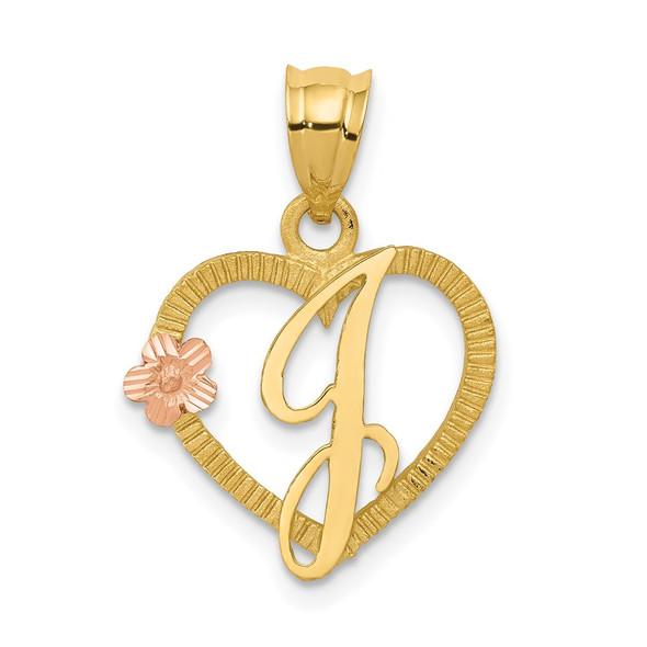 14k Yellow and Rose Gold Initial J In Heart Pendant