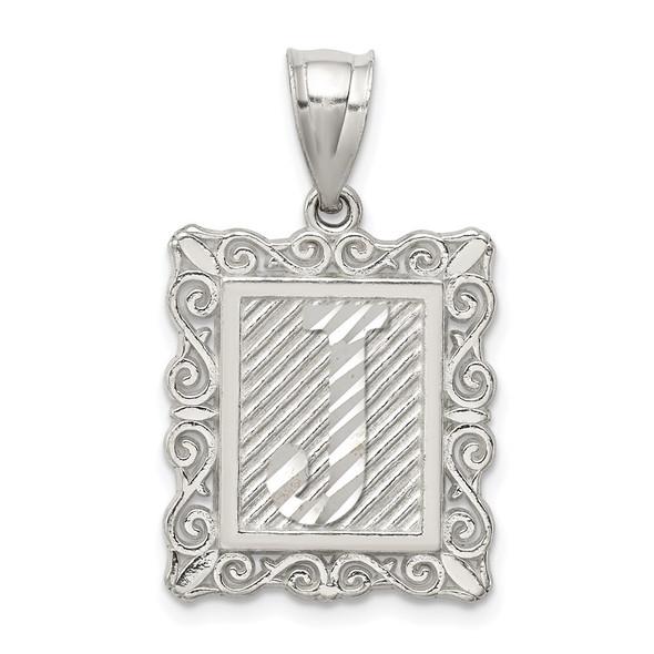 Sterling Silver Initial J Pendant QC2770J