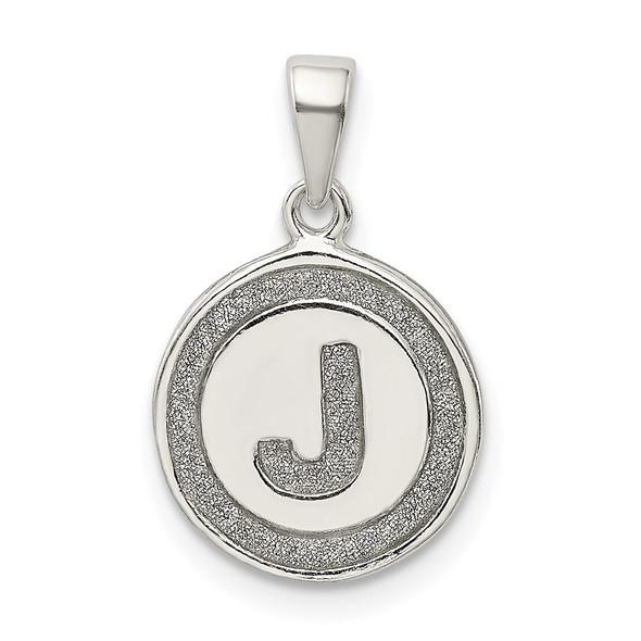 Sterling Silver Glitter Enamel Letter J Circle Pendant