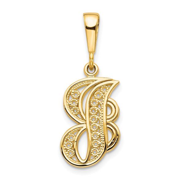 14k Yellow Gold Initial J Pendant C569J