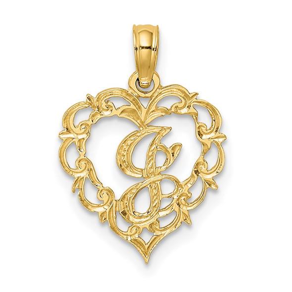14k Yellow Gold J Script Initial In Heart Pendant