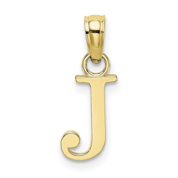 10k Yellow Gold Polished J Block Initial Pendant