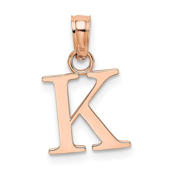 14k Rose Gold Polished K Block Initial Pendant