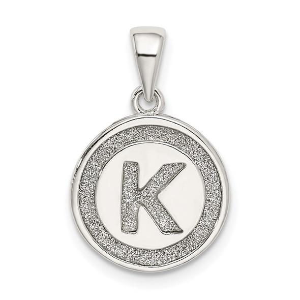 Sterling Silver Glitter Enamel Letter K Circle Pendant