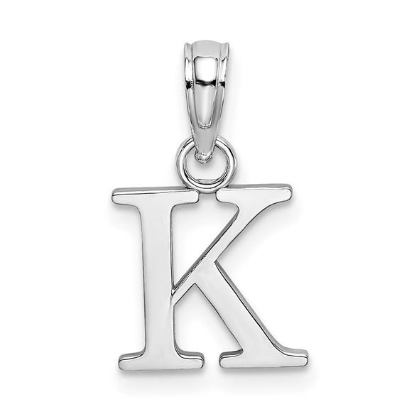 14k White Gold Polished K Block Initial Pendant