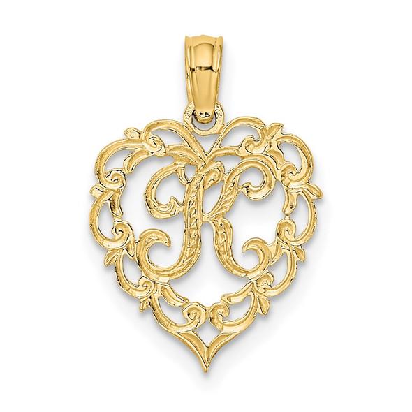 14k Yellow Gold K Script Initial In Heart Pendant