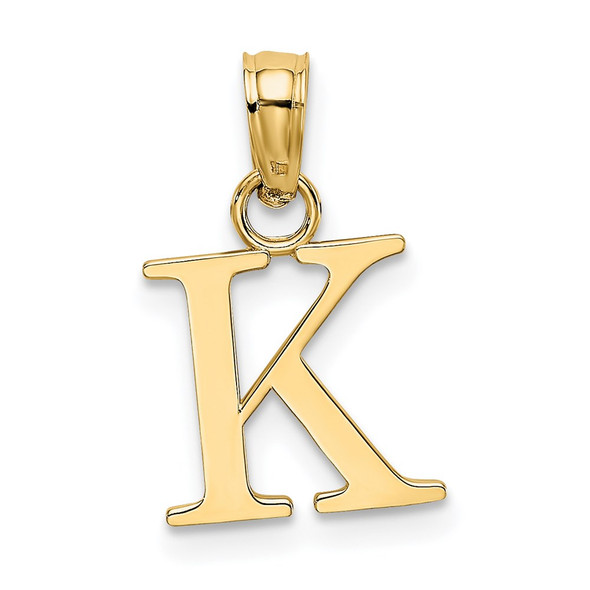 14k Yellow Gold Polished K Block Initial Pendant