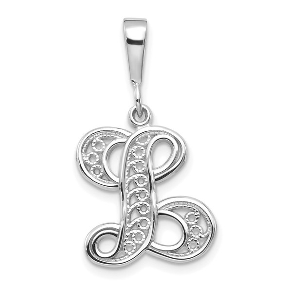 14K White Gold Solid Polished Filigree Initial L Pendant
