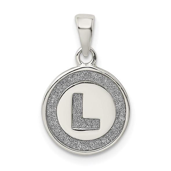Sterling Silver Glitter Enamel Letter L Circle Pendant