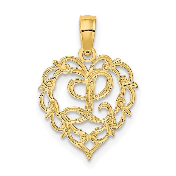 14k Yellow Gold L Script Initial In Heart Pendant
