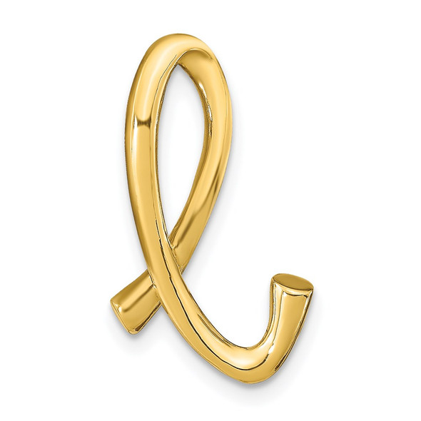 14k Yellow Gold Polished Letter L Initial Slide