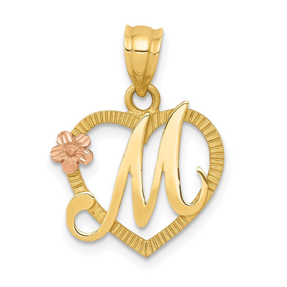 14k Yellow and Rose Gold Initial M In Heart Pendant