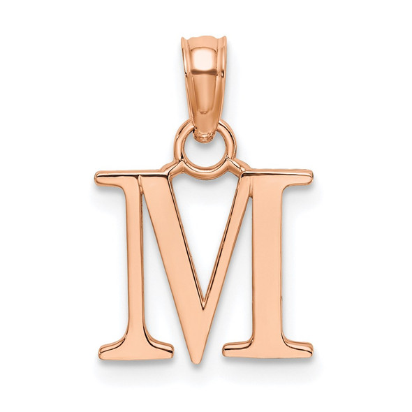 14k Rose Gold Polished M Block Initial Pendant