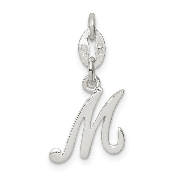 Sterling Silver Initial M Pendant QC6510M