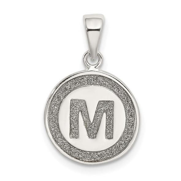Sterling Silver Glitter Enamel Letter M Circle Pendant