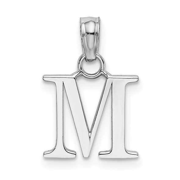14k White Gold Polished M Block Initial Pendant
