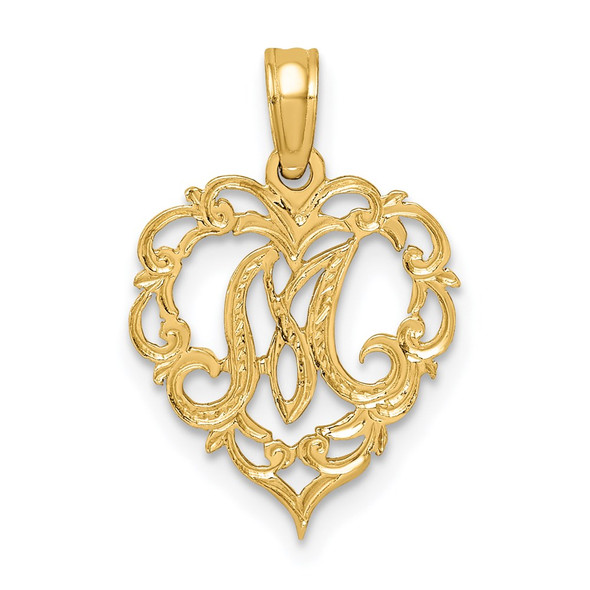 14k Yellow Gold M Script Initial In Heart Pendant