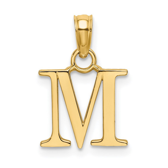 14k Yellow Gold Polished M Block Initial Pendant