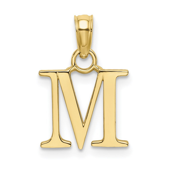 10k Yellow Gold Polished M Block Initial Pendant