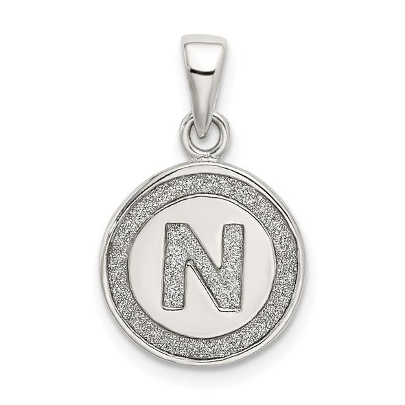 Sterling Silver Glitter Enamel Letter N Circle Pendant