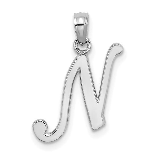 14k White Gold Polished N Script Initial Pendant