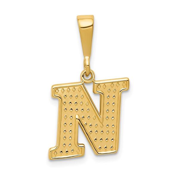 14k Yellow Gold Initial N Pendant C1449-N