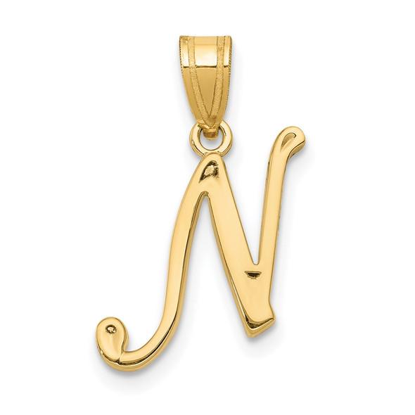 14k Yellow Gold N Script Initial Pendant