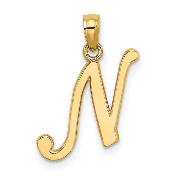 14k Yellow Gold Polished N Script Initial Pendant