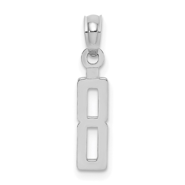 10k White Gold Number 8 Block Pendant