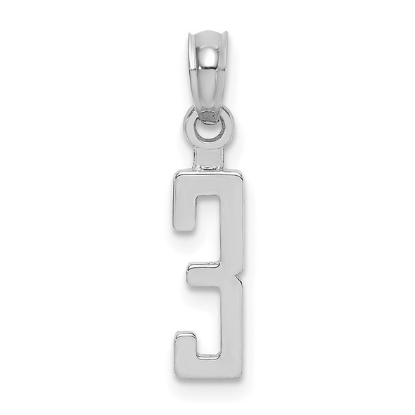 10k White Gold Number 3 Block Pendant