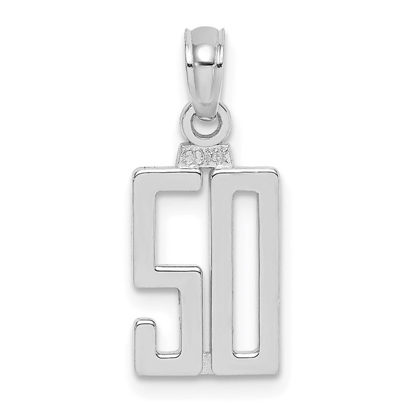 14K White Gold Polished Number 50 Pendant