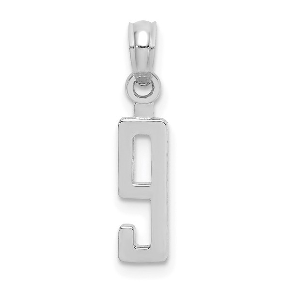 10k White Gold Number 9 Block Pendant