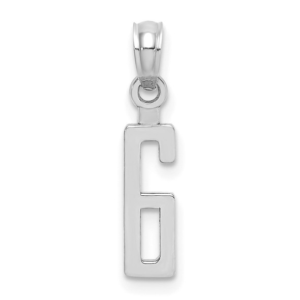 10k White Gold Number 6 Block Pendant