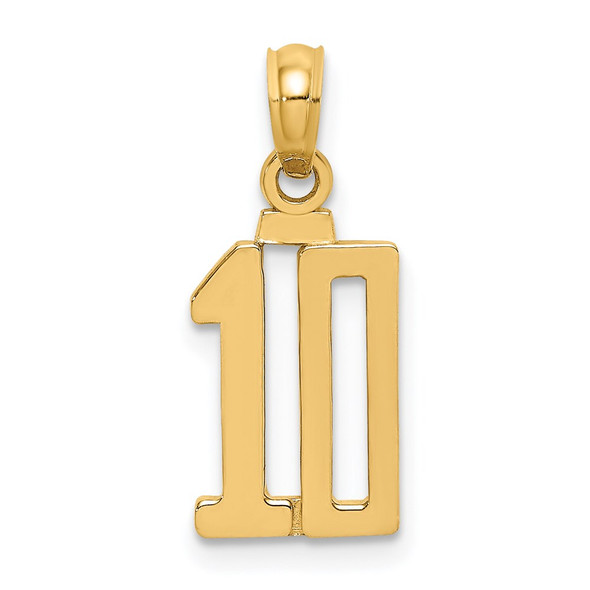 14k Yellow Gold Polished Number 10 Pendant