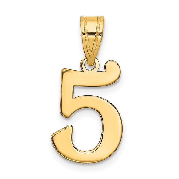 14k Yellow Gold Polished Number 5 Pendant APN05