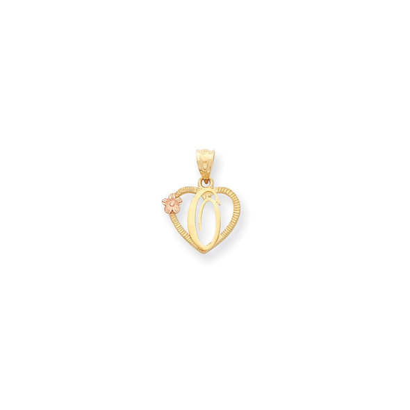 14k Yellow and Rose Gold Initial O In Heart Pendant