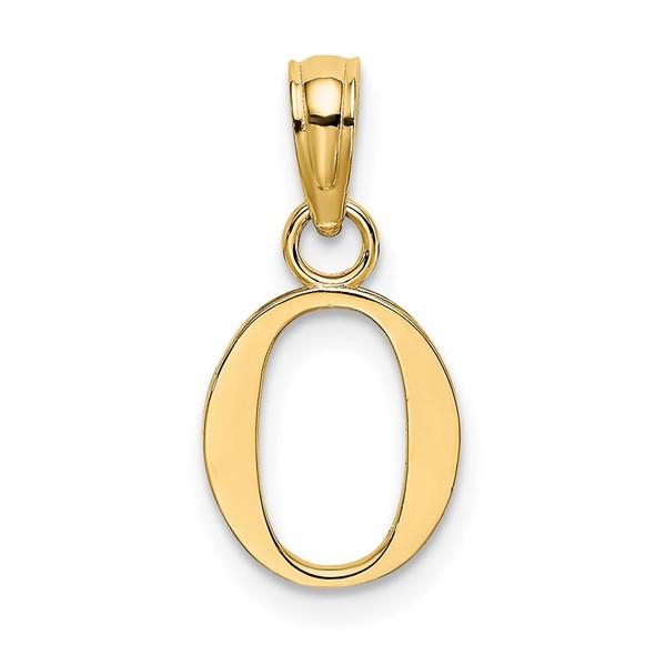 14k Yellow Gold Polished O Block Initial Pendant