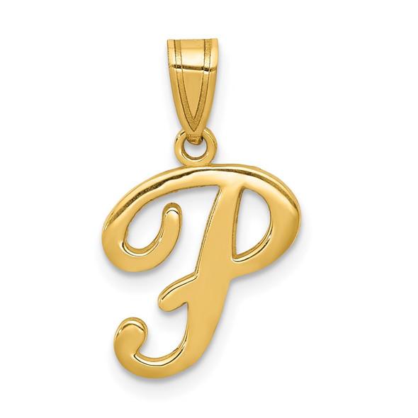 14k Yellow Gold P Script Initial Pendant