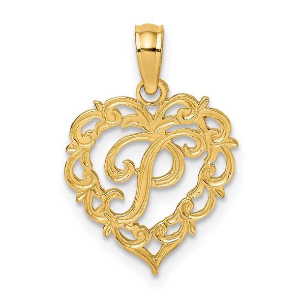 14k Yellow Gold P Script Initial In Heart Pendant