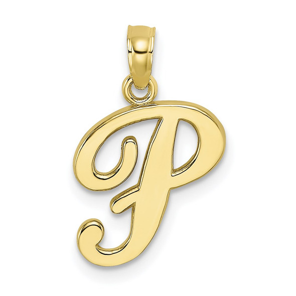10k Yellow Gold Polished P Script Initial Pendant