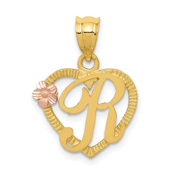 14k Yellow and Rose Gold Initial R In Heart Pendant