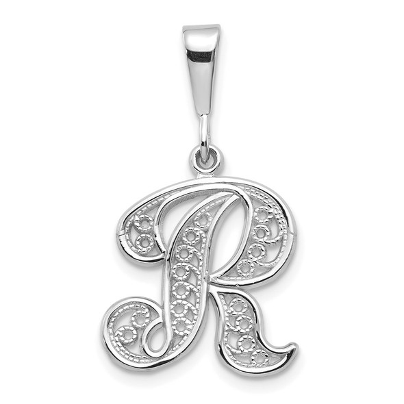 14K White Gold Solid Polished Filigree Initial R Pendant