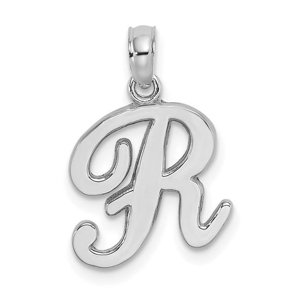 14k White Gold Polished R Script Initial Pendant