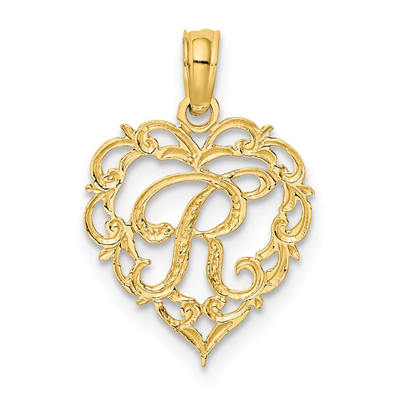 14k Yellow Gold R Script Initial In Heart Pendant
