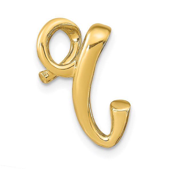 14k Yellow Gold Polished Letter R Initial Slide
