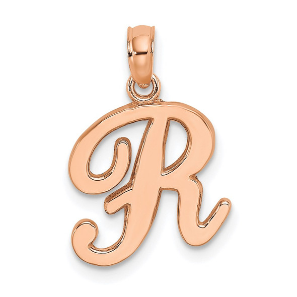 10k Yellow Gold Polished R Script Initial Pendant