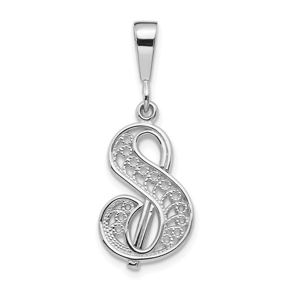 14K White Gold Solid Polished Filigree Initial S Pendant
